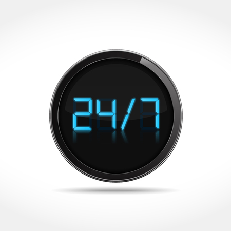 24x7: 24 7 digital icon Illustration