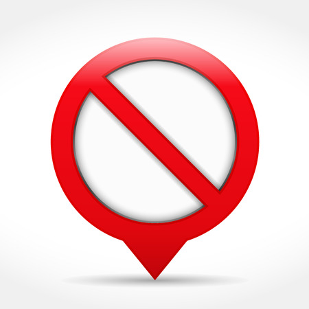 no entry: Red map pin as stop sign