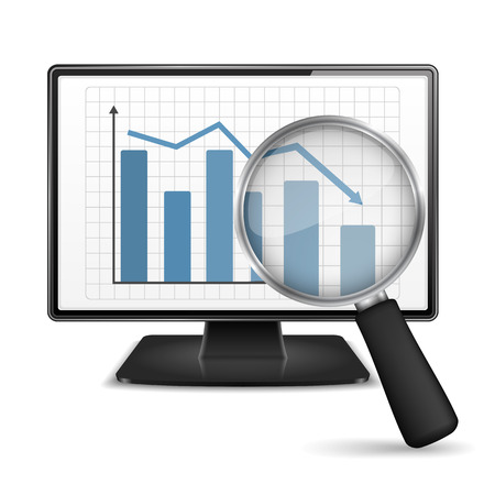 economic depression: Magnifying glass showing falling bar graph
