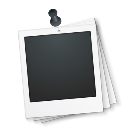 tack: Blank photo frame with push pin Illustration