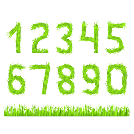 Numbers made of green grass Vector