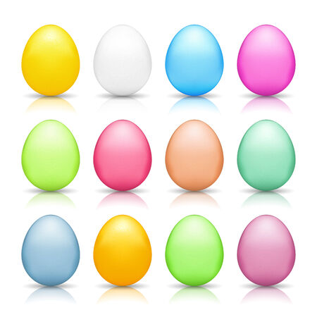 Colored easter eggs with reflections isolated on white background Vector
