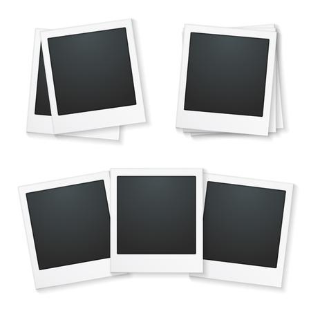 Set of photo frames on white background