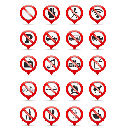 Map pins with prohibition signs Vector