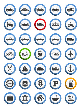 Transportation, nautical and travel icons Vector