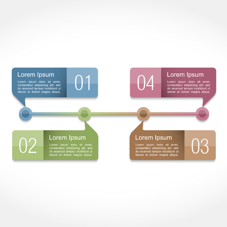 text boxes: Timeline design template with four elements