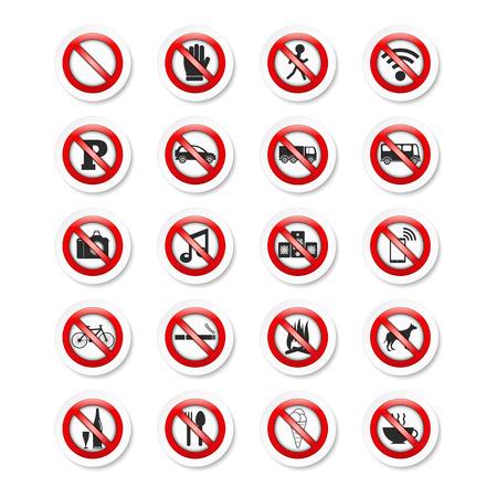 interdiction: Ensemble des autocollants avec des panneaux d'interdiction Illustration