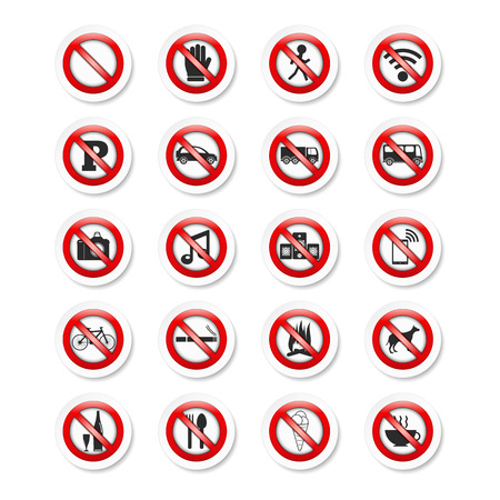 Set of stickers with prohibition signs Vector