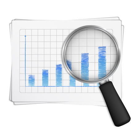 lupe: Magnifying glass showing rising bar graph