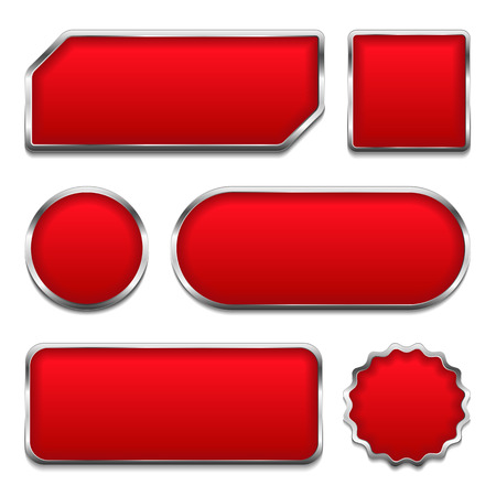 Red buttons with metallic frames Vector