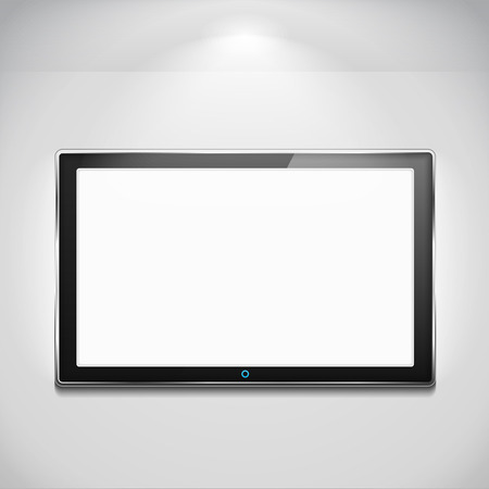 flat screen tv: LCD TV hanging on the wall