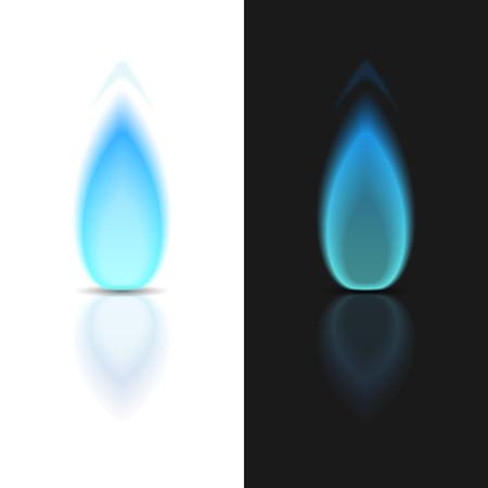 gas flame: Fiamma del gas su sfondi scuri e bianchi