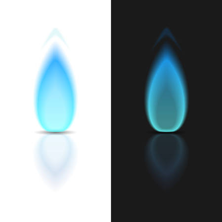 Gas flame on dark and white backgrounds 向量圖像