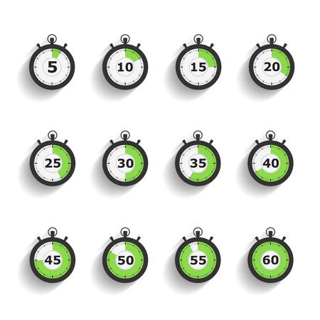Iconos Cronómetro establecidos con las sombras diagonales