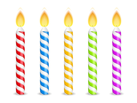Birthday candles on white background Vector