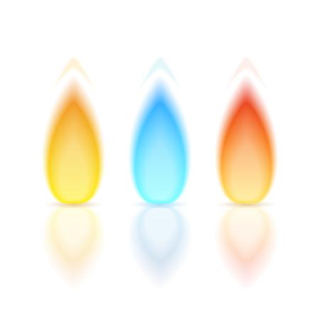 Vlam van verschillende kleuren met een reflectie op witte achtergrond