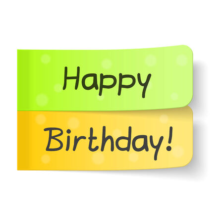 adhesive: Happy birthday congratulation on sticky notes Illustration