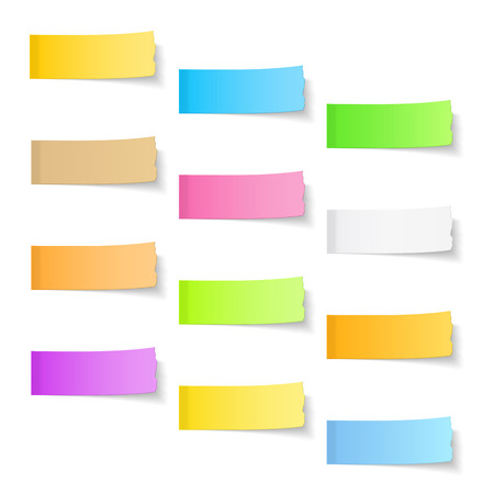 Ripped sticky papers on white background Illustration