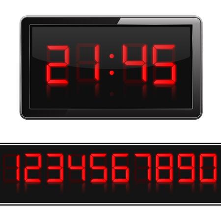 Horloge numérique et les numéros Red Vecteurs