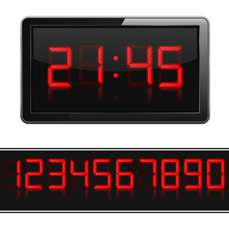 timer: Red digital clock and numbers