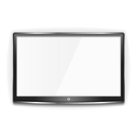 흰색 배경에 금속 프레임과 흰색 화면이 검은 색의 LCD TV
