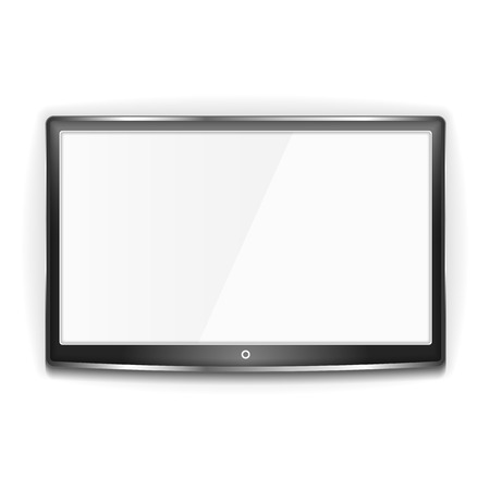 Black LCD TV with metallic frame and white screen on white background