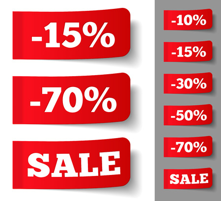 postit note: Red stickers with discounts