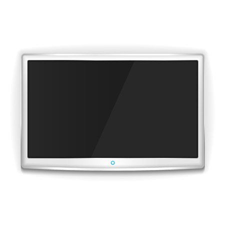 lcd display: White LCD TV with metallic frame and blank screen