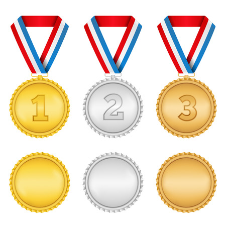 gold medal: Golden, silver and bronze medals on white background Illustration