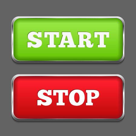 Starten en stoppen knoppen met metalen frames Vector Illustratie