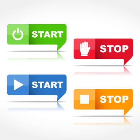 stop signs: Start and stop buttons Illustration
