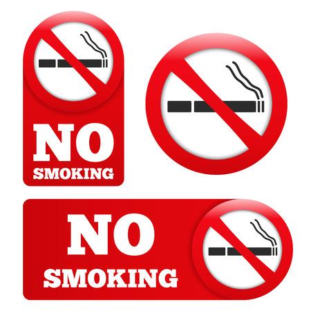 no fumar: Muestras de no fumadores Vectores