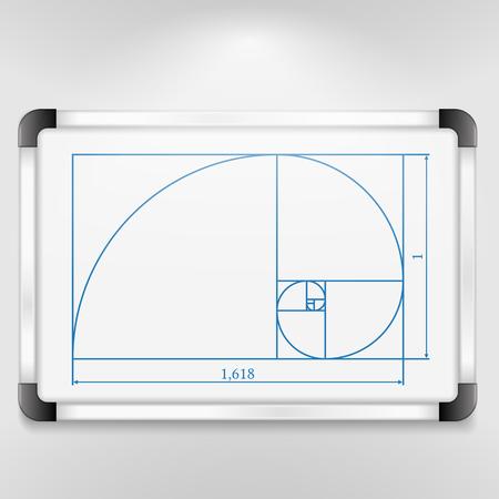 golden ratio: Whiteboard with golden ratio