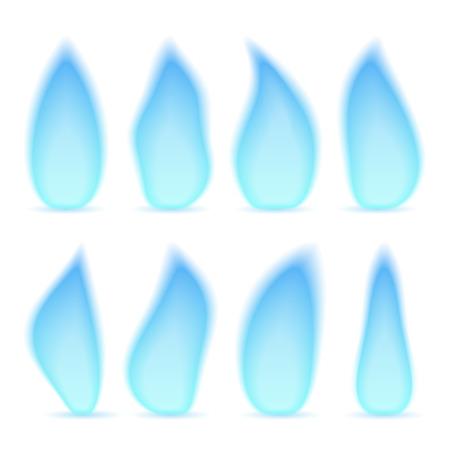 gas flame: Fiamma del gas blu, forme diverse, isolato su sfondo bianco