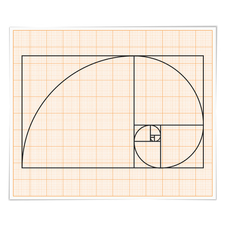 golden ratio: Graph paper with golden ratio Illustration