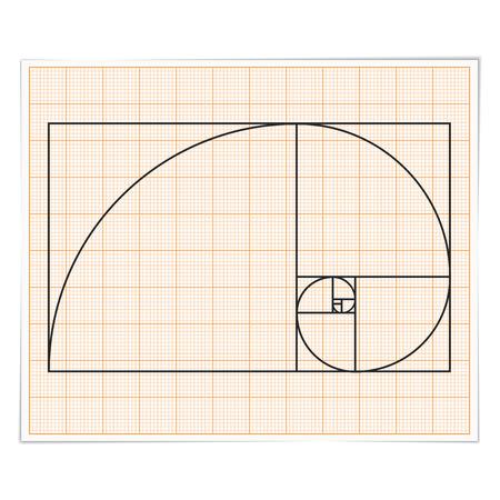 golden ratio: Papier millimétré avec nombre d'or Illustration