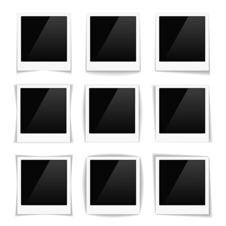 frame photo: Set of striped photo frames with different shadows