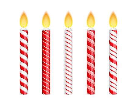 candle flame: Red birthday candles isolated on whte background