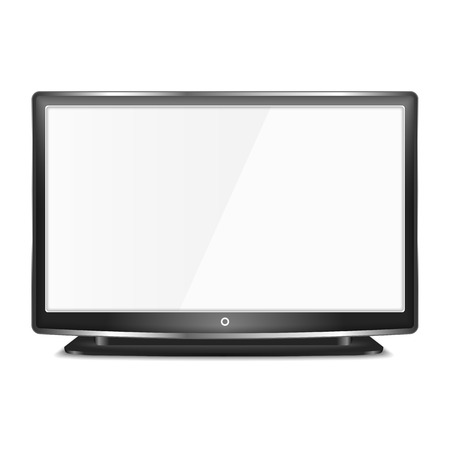 flat screen tv: Black LCD TV screen on white background Illustration