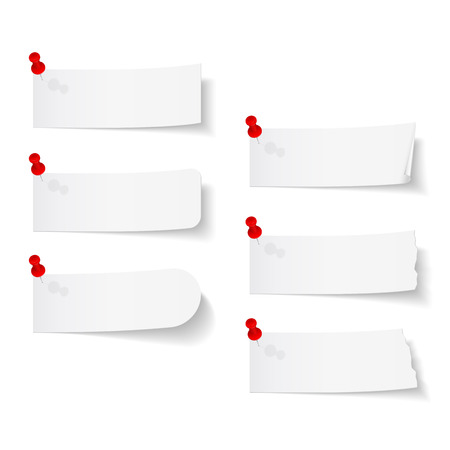 push pins: Blank white paper with push pins on white background