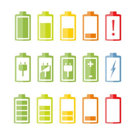 bateria: Iconos de la batería situado en el fondo blanco, diseño plano