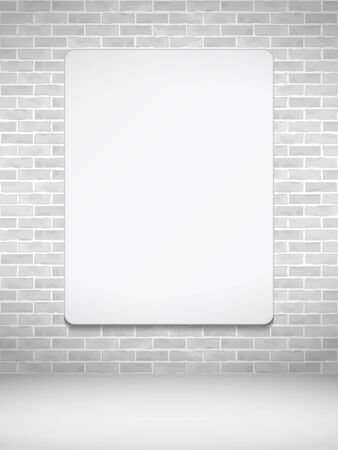 Blank vertical poster on brick wall Vector