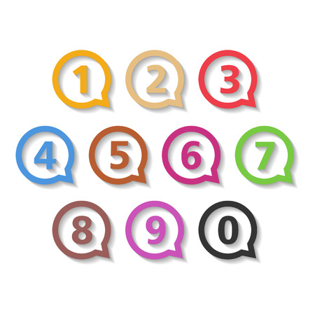 3 4: Colored numbers in round speech bubbles, flat design
