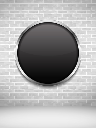 tiled wall: Blank black round frame on an old brick wall Illustration