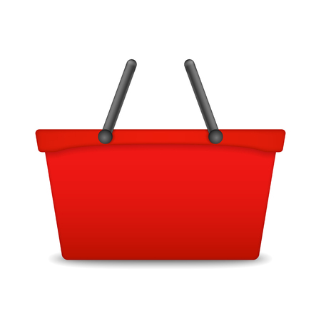 Red shopping basket on white background Vector