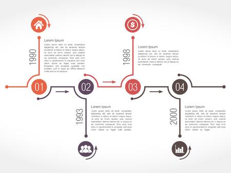 horizontal lines: Horizontal plantilla de diseño línea de tiempo