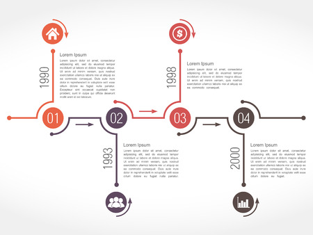 Horizontal timeline design template Vector