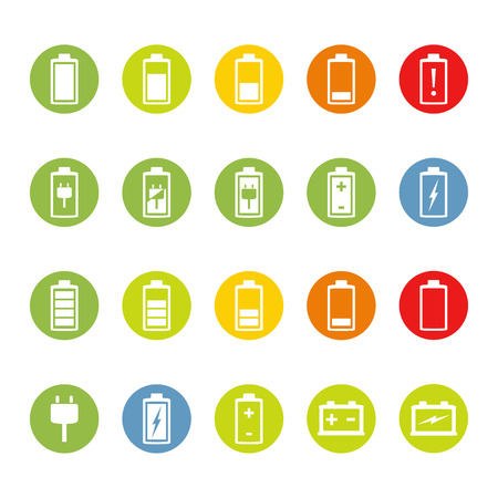 charger: Colored circles with battery and accumulator icons, flat design Illustration