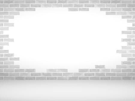 broken brick: Broken brick wall and floor