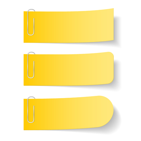 paper notes: Three yellow paper notes with clips on white background Illustration